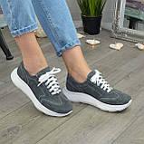 Кроссовки женские замшевые на белой подошве, на шнурках. Цвет серый, фото 9