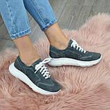 Кроссовки женские замшевые на белой подошве, на шнурках. Цвет серый, фото 10