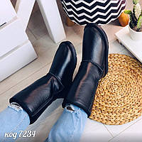 Черные натуральные кожаные высокие угги внутри с искусственным мехом (ящ), фото 1