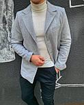 😜 Пальто Чоловіче сіре пальто з коміром, фото 3