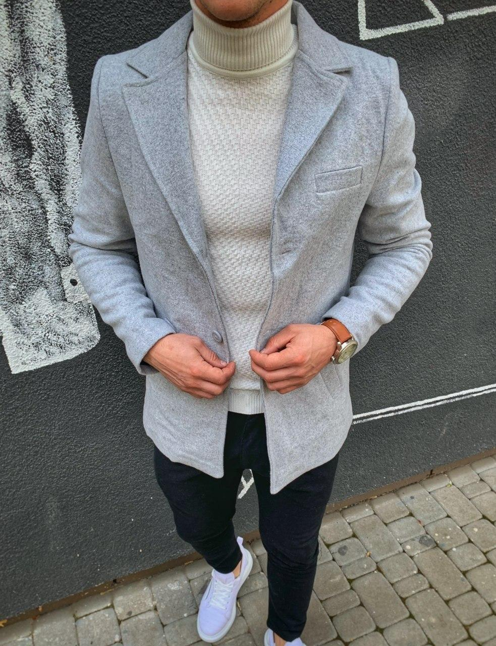 😜 Пальто Чоловіче сіре пальто з коміром
