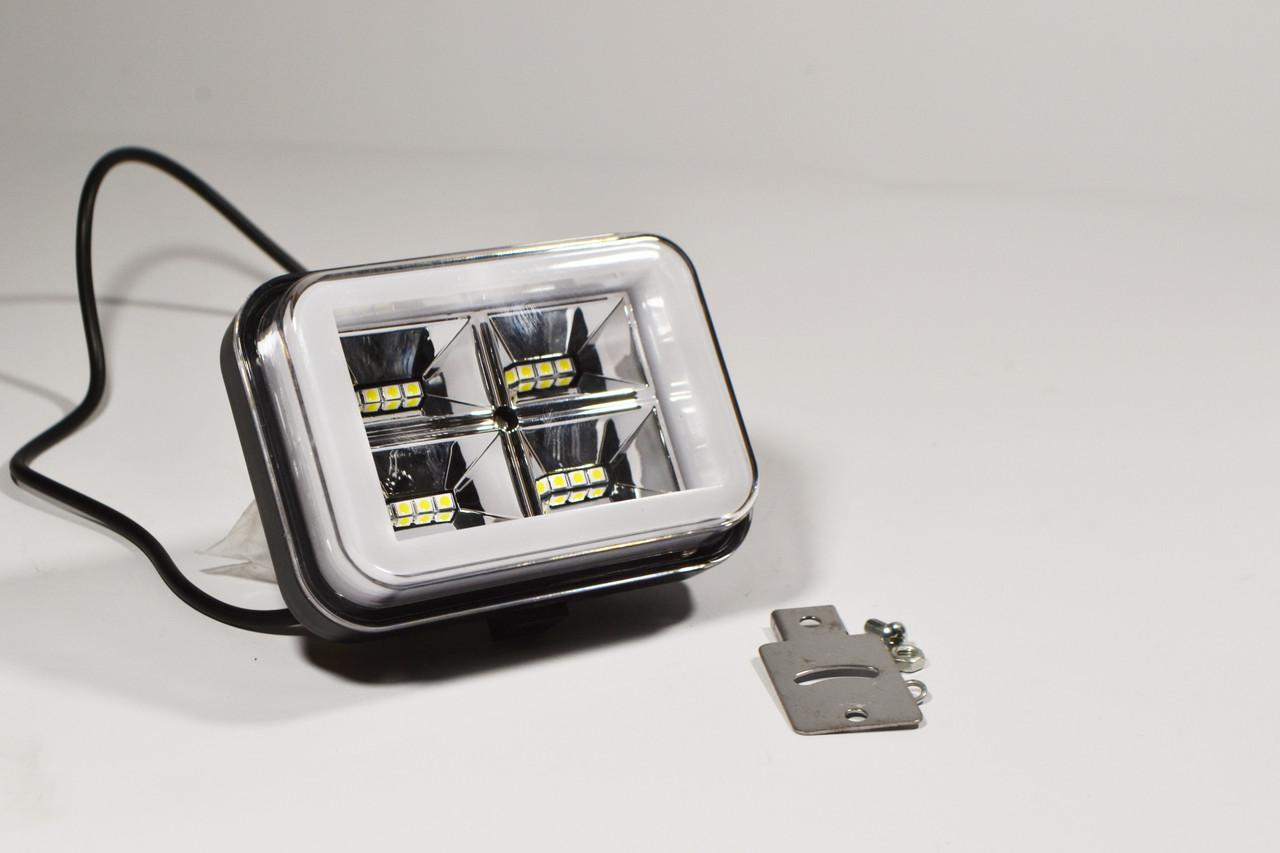 Светодиодная LED фара рабочая 36W/60° + стробоскоп и ангельский глаз