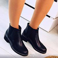 Демисезонные черные ботинки из натуральной кожи с широкими резинками по бокам (14а), фото 1