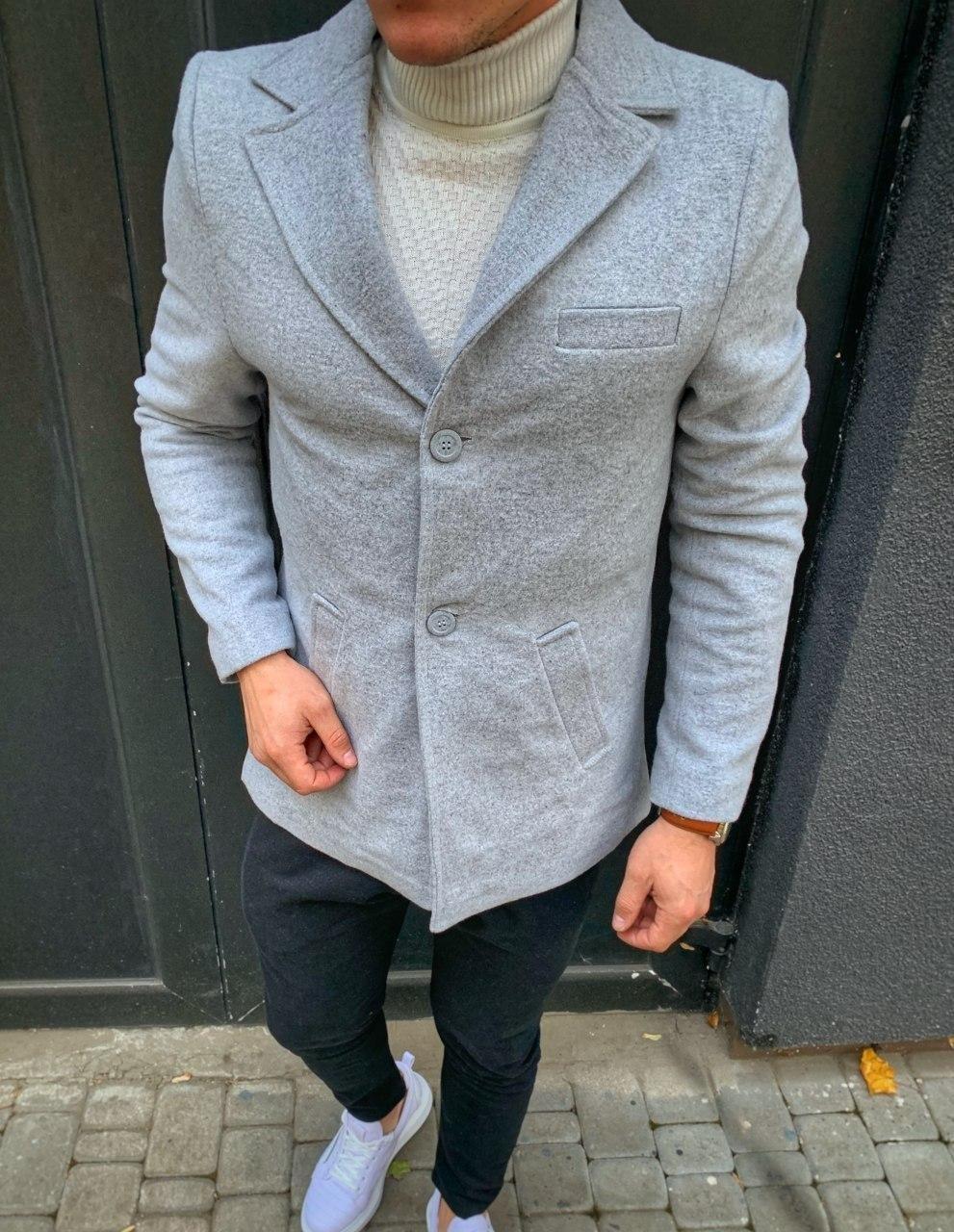 Пальто - Мужское серое пальто