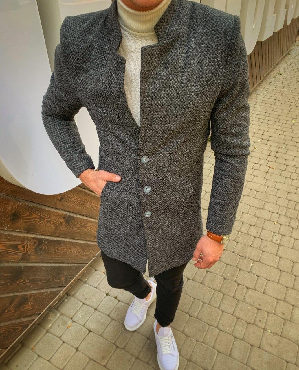 😜 Пальто Чоловіче пальто темно-сірого кольору