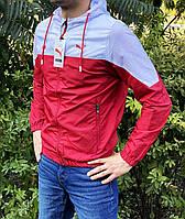 Мужская куртка ветровка красно-белая Puma