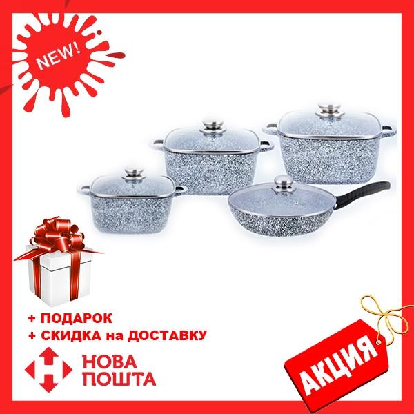 Набор посуды Benson BN-332 (8 предметов) гранитное покрытие   кастрюля с крышкой   кастрюли   сковорода Бенсон