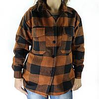 Рубашка женская в клетку деми оверсайз пальто коричневая клетчатая