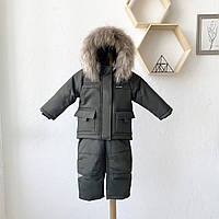 """Куртка та напівкомбінезон дитячий зима Альпініст """"Хакі"""" Дитячий утеплений комбінезон 86-92 / 92-98, фото 1"""