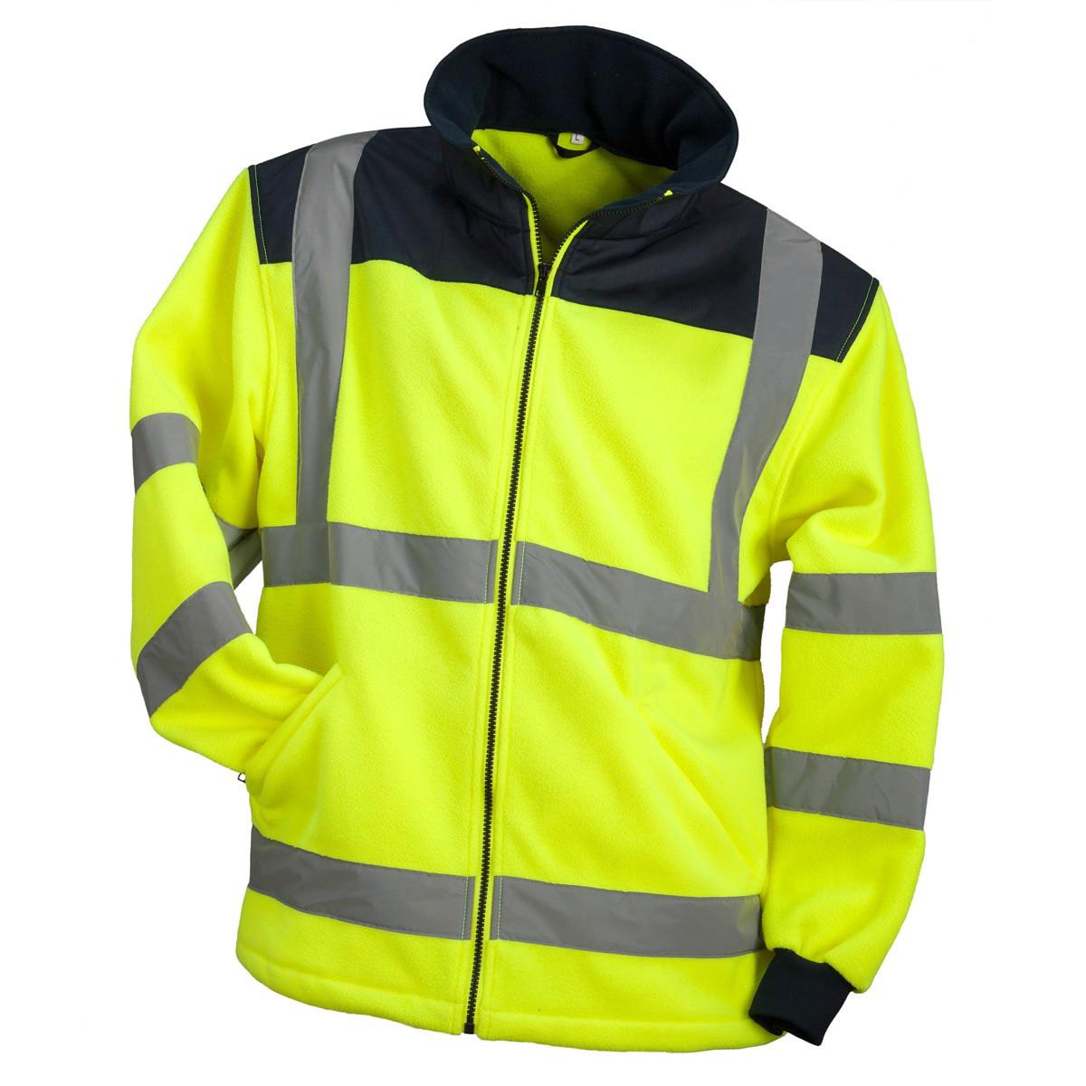 Куртка  HSV YELLOW со светотражающими полосами из флиса, черно-желтого цвета.  Urgent (POLAND)