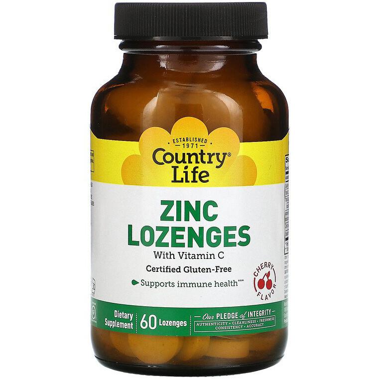 """Цинк з вітаміном З Country Life """"Zinc Lozenges with Vitamin C"""" смак вишні (60 таблеток)"""