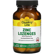 "Цинк с витамином С Country Life ""Zinc Lozenges with Vitamin C"" вкус вишни (60 таблеток)"