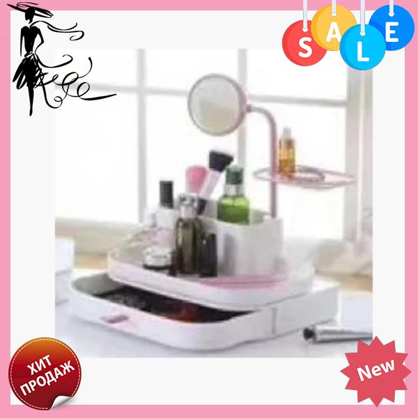 Органайзер для косметики Косметик бокс с зеркалом | Cosmetic rack with mirror White K12-31