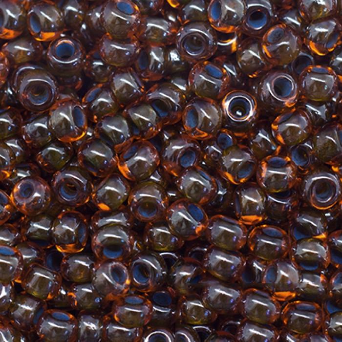 Бисер 91004 Чешский Preciosa 10/0, Прозрачный радужный TR, Коричневый, Круглый/ Упак.: 50 г