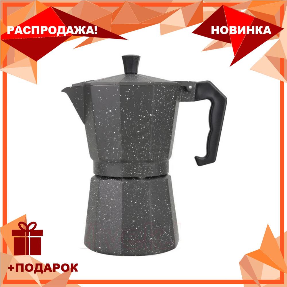 Гейзерная кофеварка мока из литого алюминия на 6 чашек Benson BN-159 | турка Бенсон, Бэнсон
