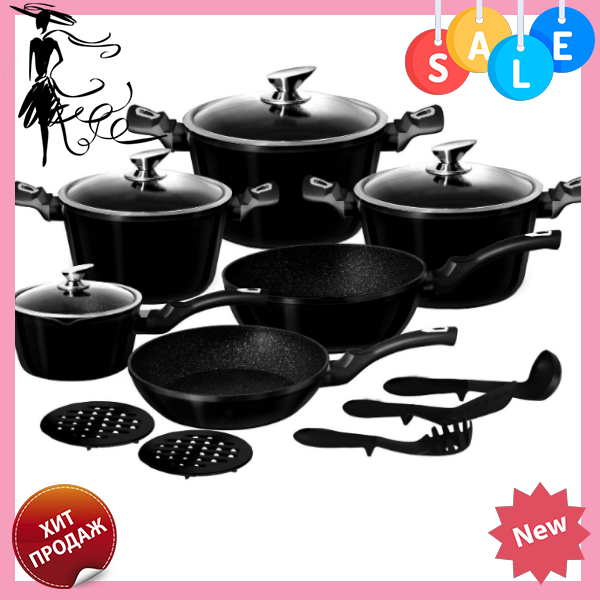 Набор посуды Edenberg EB-5611 Black Metallic Line 15 предметов   Кастрюли сковороды ковш мраморное покрытие