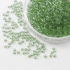 Бисер 01163 Чешский Preciosa 10/0, Прозрачный Солгель Окрашенный CSD, Зеленый, Круглый, 50 г