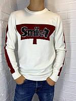 Свитер мужской Engelz белый с бордовой полоской SMILE L-XXL