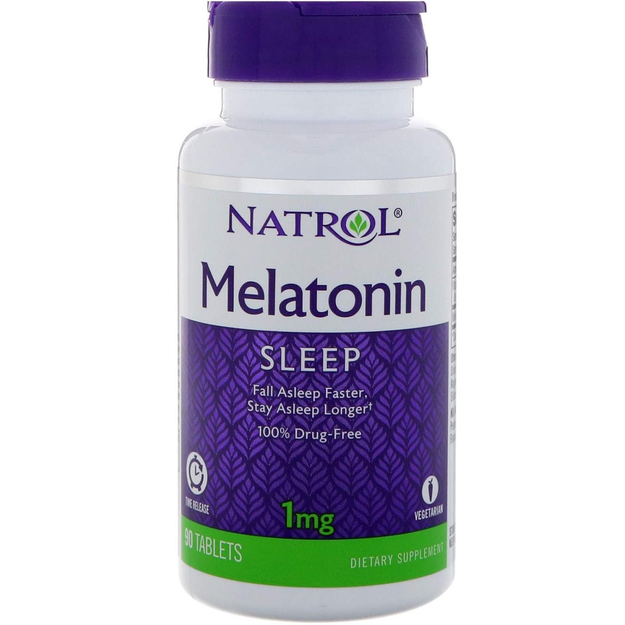 Мелатонин, Natrol, Melatonin, 1 мг, 90 таблеток (КОД:10847)