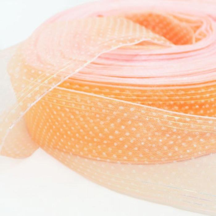 Лента из Органзы, Цвет: Персиковый, Ширина: 40мм, катушка/90м/ Упак.: 10 м