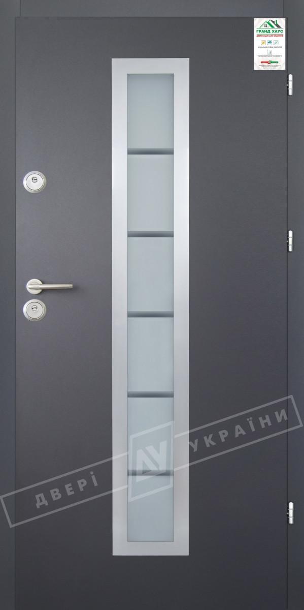 "Двері вхідні вуличні серії ""GRAND HOUSE 56 mm"" / Модель №1 / колір: Графіт металік муар"