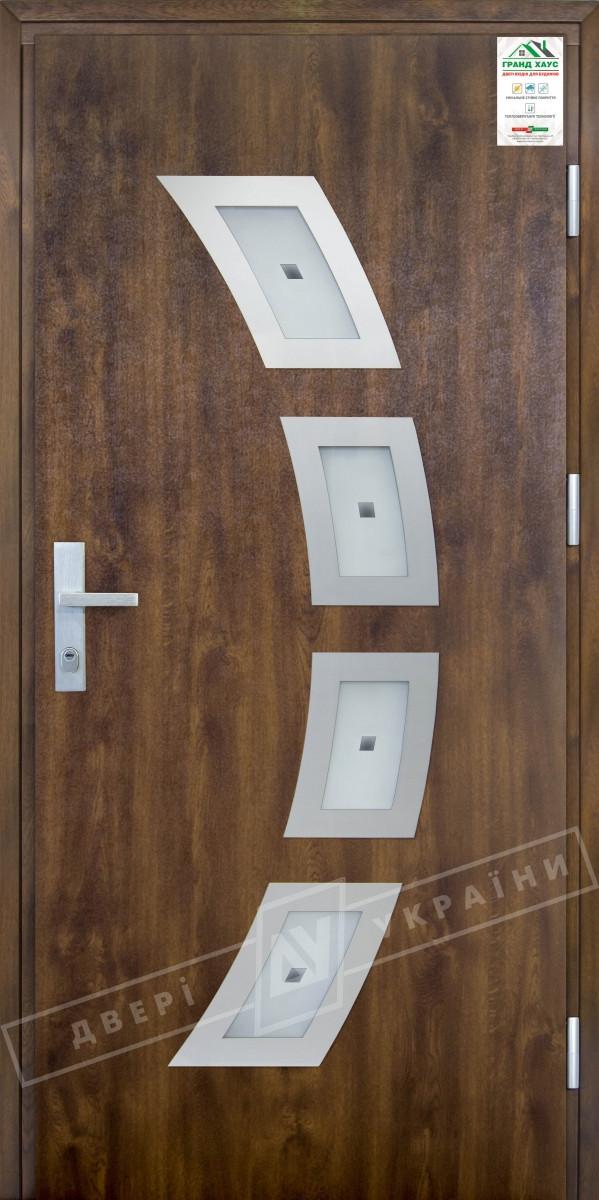 """Двері вхідні вуличні серії """"GRAND HOUSE 73 mm"""" / Модель №5 / колір: Темний орехДвери вхідні вуличні серії """"GRAND HOUSE 73 mm"""" / Модель №1 / колір:"""