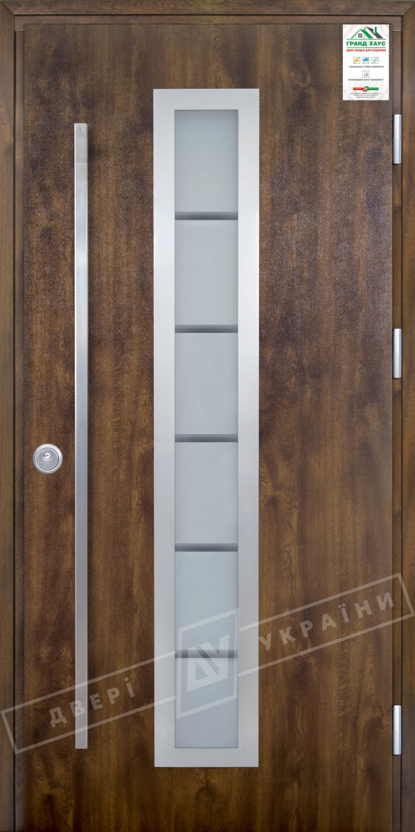 """Двери входные уличные серии """"GRAND HOUSE 73 mm"""" / Модель №1 / цвет: Тёмный орех / Ручка - скоба"""
