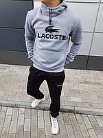 Мужской серый зимний спортивный костюм, костюм с капюшоном на флисе в стиле Lacoste, фото 1