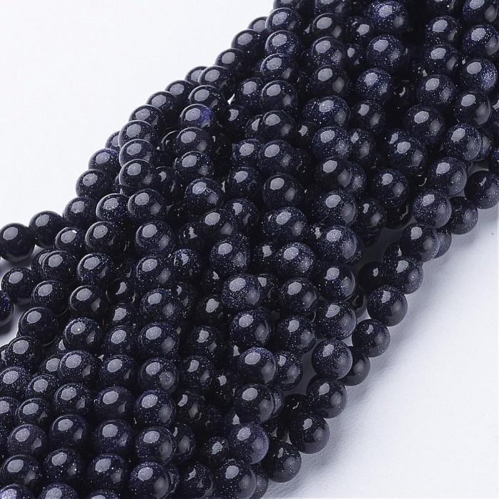 Бусины Синтетический Голдстоун, Круглый, Цвет: Синий, Диаметр: 4мм, Отв-тие 0.8мм, около 100шт/40см/нить
