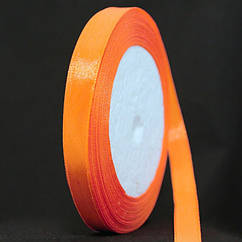 Лента Атласная 10мм, Цвет: Оранжевый, Ширина: 10мм, около 25м/катушка
