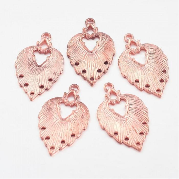 Коннектор Лист Металл, 6 отверстий, Цвет: Розовое Золото, Размер: 34х20х1.5мм, Отверстие 1~2мм/ Упак.: 5 шт