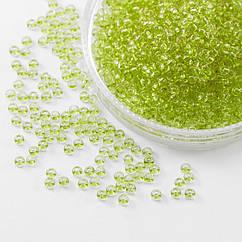 Бисер 01153 Чешский Preciosa 10/0, Прозрачный Солгель Окрашенный CSD, Зеленый, Круглый, 50 г