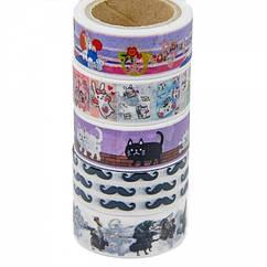 Декоративный Скотч, Цвет: Микс, Ширина: 15~18мм, 5катушек/набор