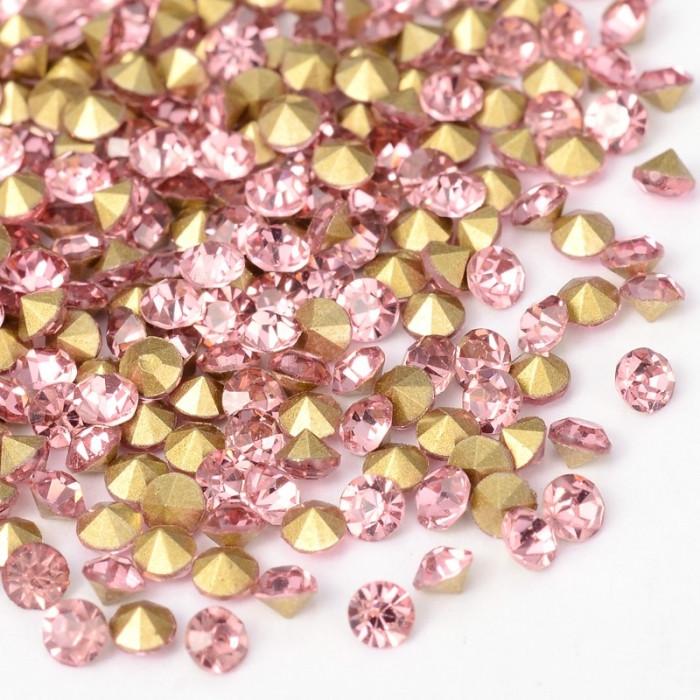 Стразы Бриллиант Стекло Класс А, Покрытые сзади, Цвет: Светло-розовый, Размер: 1.9~2мм/ Упак.: 360 шт