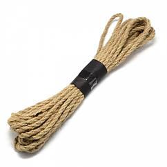 Прядив'яна Мотузка Подвійного кручення 5мм, Колір: Бежевий, Розмір: Товщина 5мм, близько 5м/зв'язка