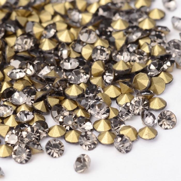 Стразы Бриллиант Стекло Класс А, Покрытые сзади, Цвет: Черный Бриллиант, Размер: 1.9~2мм/ Упак.: 720 шт