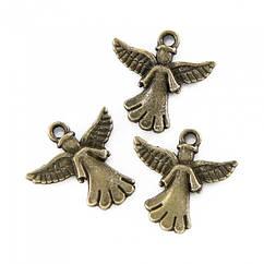 Кулон Ангел, Металл, Цвет: Бронза, Размер: 21x20мм, 10 шт