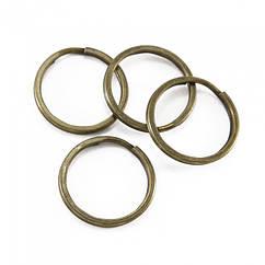 Кольцо Замочек, для Брелков и Ключей, Железное, Цвет: Бронза, Диаметр 24мм, 20 шт