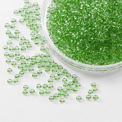 Бисер 01161 Чешский Preciosa 10/0, Прозрачный Солгель Окрашенный CSD, Зеленый, Круглый, 50 г