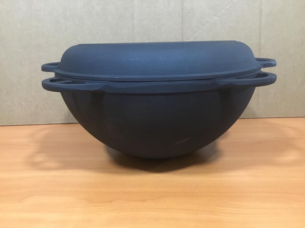 Чугунный казан 6л с чугунной крышкой сковородкой