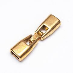 Застежка Клипса, Металл Тибетский Стиль, Цвет: Античное Золото, Размер: 32х9х6мм, Отв-тие 6х3мм, Диаметр Внутри 2.9мм/ Упак.: 1 шт