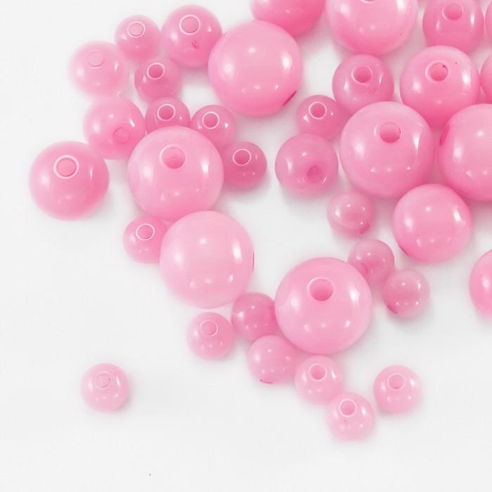 Бусины Акриловые Желейные, Круглые, Цвет: Розовый, Микс, Отверстие 2мм, около 140~235шт/50г/ Упак.: 50 г