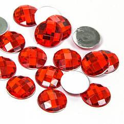 Акриловые Стразы - Кабошоны, Граненые, Плоские Круглые, Цвет: Красный, Размер: 8х3мм, 100 шт
