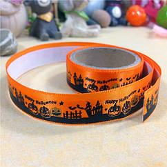 Декоративный Скотч, Шелковый, Хеллоуин, Цвет: Оранжевый, Ширина: 15мм, около 1м/катушка