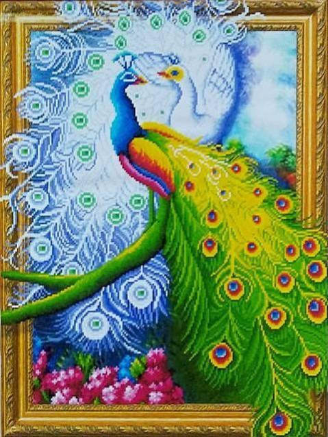"ELT0467  Алмазная мозаика по номерам 40*50 объемная ""Два павлина"" карт уп. (холст на раме)"