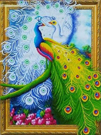 """ELT0467  Алмазная мозаика по номерам 40*50 объемная """"Два павлина"""" карт уп. (холст на раме), фото 2"""