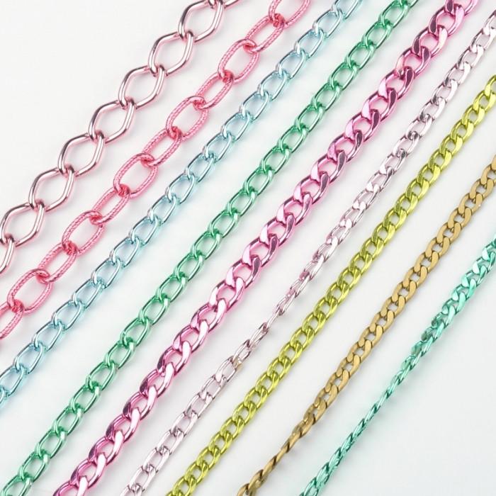 Цепь Алюминиевая Витая, Цвет: Микс, Звено: 7~14x4.5~9мм, Толщина 1~2мм, 9 цепей по 1м, около 9м/набор