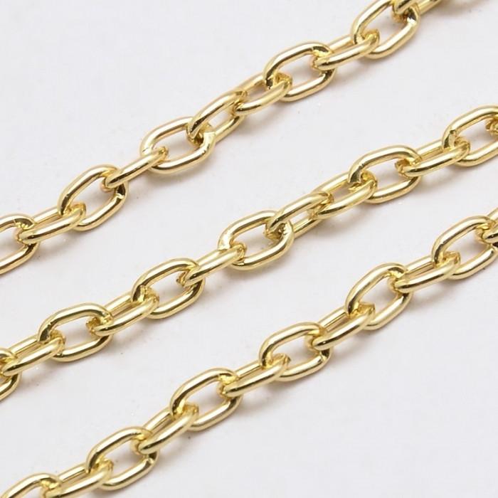 Цепь Алюминиевая Якорная, Цвет: Золото, Звено: 5.8x3.8мм, Толщина 1мм/ Упак.: 5 м