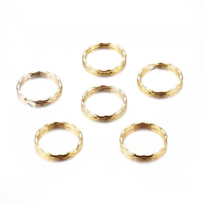 Кольцо Замочек, для Брелков и Ключей, Железное, Цвет: Золото, Диаметр 25мм, Толщина 1мм/ Упак.: 20 шт