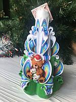 Свеча в виде елки с дедом морозом